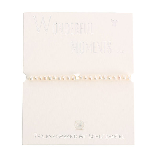 Perlenarmband Schutzengel versilbert Wonderful moments
