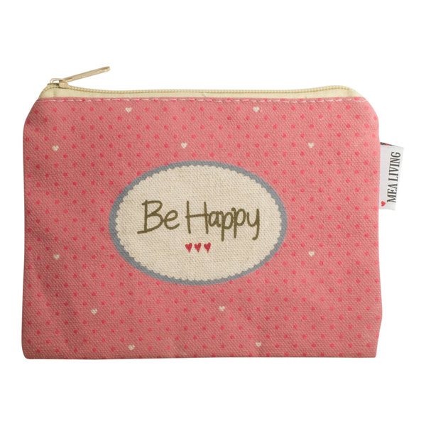 "Mea Living Kleine Kosmetiktasche ""Be happy"" rosa"